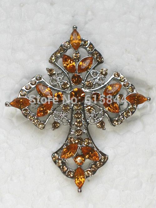 Fashion Brooches Topaz Crystal Rhinestone Cross Brooch Pin & Pendant Jewelry 325G(China (Mainland))