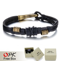OPK Brand Fashion New 2015 Handmade Leather Wrap Bracelets Vintage Cheap Price Alloy Men Jewelry Good Gift For Man PH884