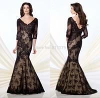 Royal Style Elegant Black Lace Long Sleeve vestido de la madre Indian Trumpet Mermaid Mother Of the Bride Dresses