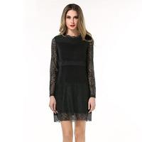 High Neck Women Crochet Lace Shift Dress Vestido Plus Size L-5XL #SN1856