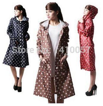 2015 outdoor Raincoat Women Nylon Travel Waterproof Riding raincoat Ladies Poncho Hooded Knee Long Rainwear Button style(China (Mainland))