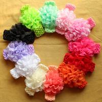 36pcs,Chiffon flower with crochet Headbands, Sweet Infants Toddlers Baby Girls Elastic Headband Hair Decors