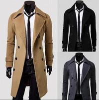 Hot Sale 2014 Winter Casual Breasted Men's Overcoat Unique Slim Outwear Long Design Double Breasted Wool Men Coat M~XXXL
