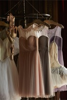 New arrival 2015 New Big Discount appliqued knee-length tulle champagne bridesmaid dresses party dresses under 100$