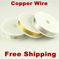 Free Shipping 0.2 40M/Roll 1Roll/lots Mixed Color Copper Wires Beading Wire DIY Jewelry Findings Brass Ropes Cords