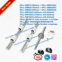 3pcs ballscrews ballscrew + 3 set SBR rails +3sets BK/BF12+3pc couplings cnc XYZ