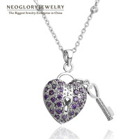 Neoglory Cubic Zirconia Platinum Plated Heart Design Necklaces & Pendant for Women Fashion Jewelry Accessories 2015 New Brand