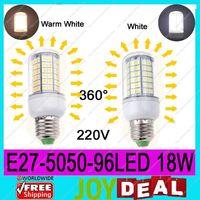AC220V-240V E27 5050SMD 96LEDs 18W High Quality Bright Corn LED Bulb Wall Lamps Ceiling light White 6500K or Warm White 3200K