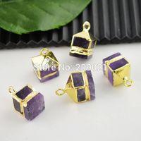 Square Shape 10Pcs Gold Plated Edge Druzy Amethyst Quartz Stone Charms Pendant Jewelry Finding