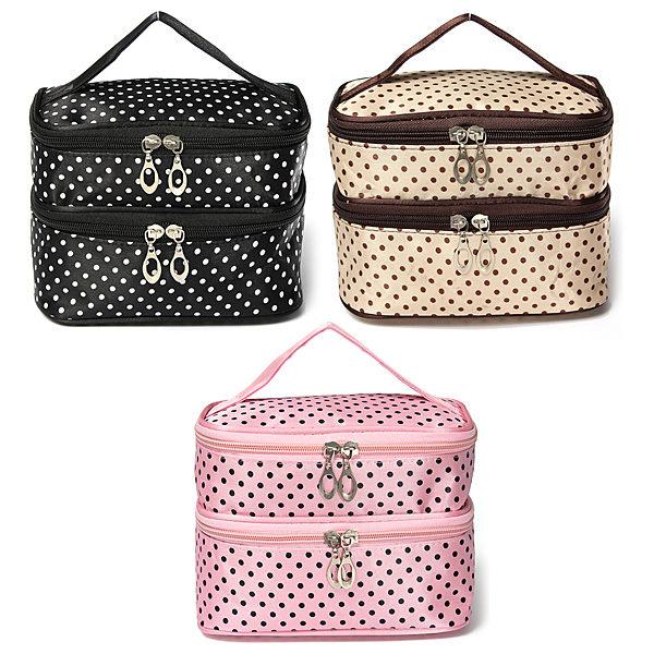 Fashion Toiletry Travel Makeup Bag Wash Organizer Case Make Up Cosmetic Dot Zip Hanging Bags Holder 3 Colors To Choose(China (Mainland))