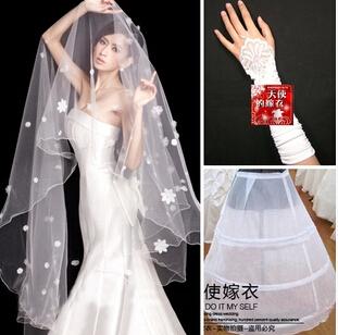2015 korean bridal veil white lace appliques long wedding accessories bridal veils real sample,3 pcs/set. 699(China (Mainland))