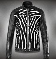 Hot Men Top Kali leather minimalist high-quality men's punk leather motorcycle Slim Leopard leather jacket