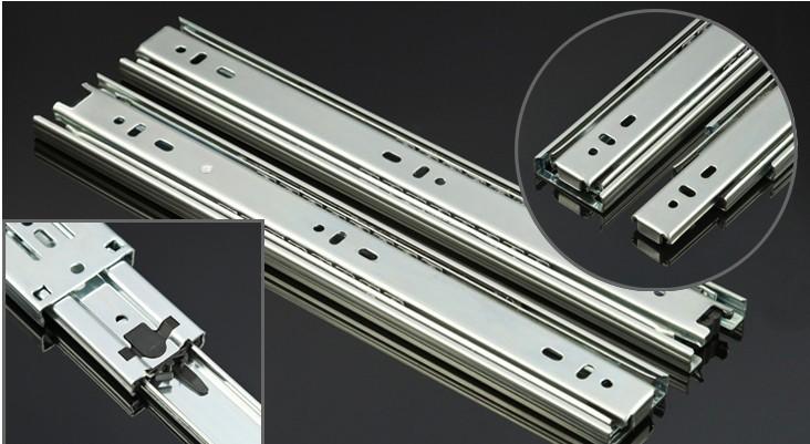 """Par de aço inoxidável suavemente mudo 18 """" extensão bola cheia tendo telescópica Drawer Slides trilhos deslizantes mobiliário Hardware(China (Mainland))"""