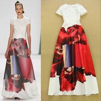 Stunning ! Runway Trends Luxurious Prom Dress Women's Short Sleeves Stylish Color Block Printed Designer Maxi Long Dress
