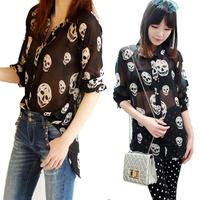 Lady Chiffon See-through Button Down Shirt Skull Print Irregular Blouse Tops  Free Shipping
