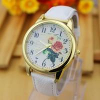 2015 Fashion Watch Woman Clock Female Gold Watch Famous Brand Girl PU Strap Quartz Watches Wholesale Casual Wristwatches 1 Piece