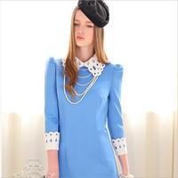 In autumn 2014 original solid colored body high-end European women's boutique major suit dress wholesale