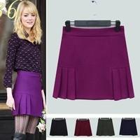 New 2015 Women Short Skirt Spring And Autumn Slim Woolen Pleated Skirt Casual High waist Skirts For Women