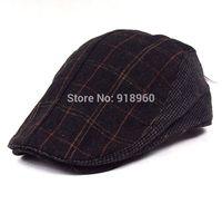 winter thick wool visor cap for men & women peaked cap plaid casquette,good quality chic warm men's visors hat women's beret cap