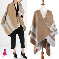 2015 Retro Letter Print Ethnic Geometric Poncho Sweater Knit Cardigan Large Cape Shawl Tops