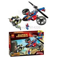 Bela 10240 298pcs bricks Marvel Super Heroes Spider-Helicopter Rescue building block toys Power man/Green Goblin/Mary Jan figure