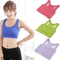Women Crop Top Cotton Vest Candy Color Athletic Sports Bra Yoga Gym Vest Braces Free Shipping