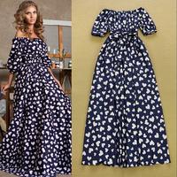 Stunning ! Runway Trends Cute Formal Full Dress Women's Short Puff Sleeves Heart Printed Maxi Tunic Dress