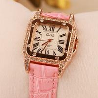 2014 Women Dress Watches Ladies Quartz Watch Alloy Analog leather strap women Rhinestone watch vintage  brand