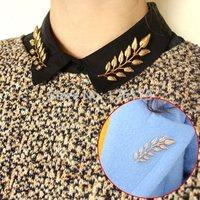 Lots 2Pcs Puck Rock Elegant Fashion Gold Silver Plated Leaf Collar Pin Brooch Classic Design