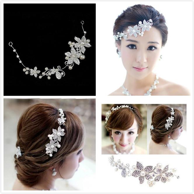 Bride pearl soft chain hair accessory rhinestone flower hair accessory wedding accessories marriage accessories