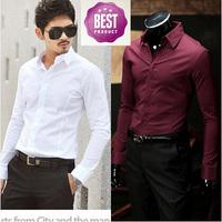 Men's Clothing Fashion Polyester Single Breasted Camisas Masculinas Solid Color Formal Mens Dress Shirts Men Shirt