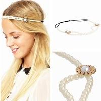Promotion! Wholesale! Fashion lady women hair jewelry all-match elegant simulated-pearls flower elastic rope headbands SHR300