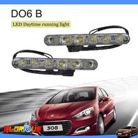 12V 6W Free shipping 2pcs 6 LED Universal Car Light DRL Daytime Running Head Lamp Super White WITH RETAIL BOX