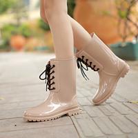 Free shipping new Korean  sweet women rainboots bandage boots waterproof non-slip rain boots size36-40