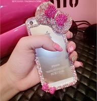 New 2015 rhinestone crystal diamond mobile phone case for iphone6 diamond Bow case for iphone6 plus