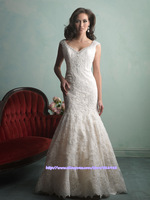 zuhair murad wedding dresses 2015 A-Line Scalloped Floor Length Lace robe de mariage Bridal Wedding Dress Gown