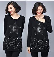 2015 spring Plus Size slim Korean Solid print star black O-neck long t shirt loose Joker