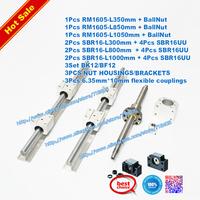 3 lead Screws ballscrews RM1605 with ballnuts +3set BK/BF12 + 3 couplings RM1605-500/750/750mm