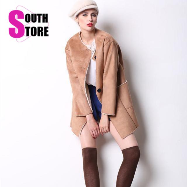 2015 New European and American Fashion Medium-Long Fur Wools Coat Single Breasted Winter Coat Women Full Sleeve Warm Trench Coat(China (Mainland))