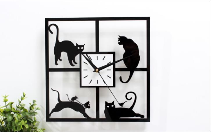 Современный дизайн черный кот настенные часы часы Reloj для кухни украшения дома большой акриловые настенные часы