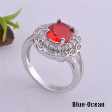 Bijoux Fashion Ring Flower Style Ruby Jewelry Platinum Plated Red Crystal Ring With Cubic Zirconia Diamond