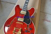 Wholesale- Custom Shop RED ES335 Jazz Guitar Gold Hardware High Quality Wholesale HOT
