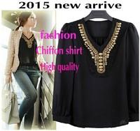 2015 new arrival summer fashion sequin Vintage blusas femininas shirt women blouses ladies female long sleeve tops clothing 7742