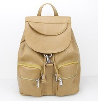 new 2015 fashion european and american style women's backpacks travelling pu  travel bags schoolbag free shippingH089 khaki