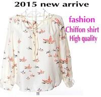 2015 new arrival summer Fashion long sleeve Print blusas femininas Chiffon shirt women blouses ladies tops loose clothing 7741