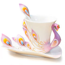 Creative Peacock 3D Ceramic Teapot Set Cup Tray Spoon 3 in 1 Novelty Color Coffee Mug