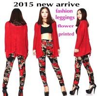 2015 new arrival Korean style Good quality High waist fashion flower print women leggings female printed legging black red 7735