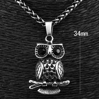 316L Stainless Steel Men's Rocker Biker Owl Pendant Necklace Chain p3079