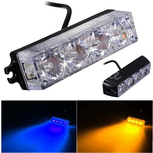 High Quality 4 LED Car Truck Emergency Beacon Light Bar Hazard Strobe Warning 2 Flashing Mode 4W Universal fit for SUV Trucks(China (Mainland))