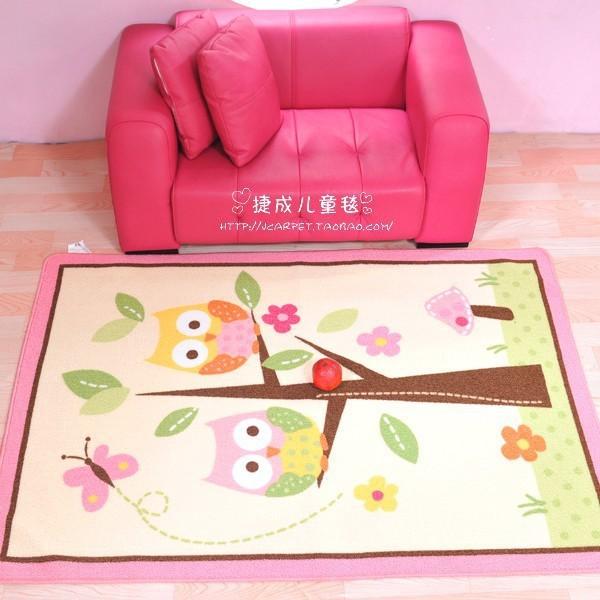 Pink owl bird bee pattern 100% nylon carpet child crawling baby blanket waterproof baby carpets100 X 142 cm Girls games carpet(China (Mainland))